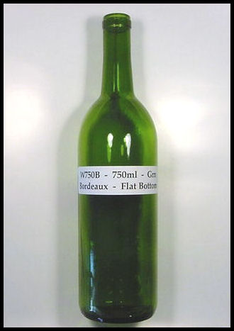 W750B - 750 ml Green Bordeaux Flat Bottom Wine Bottle