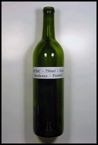 W750C - 750 ml Green Bordeaux Punted Wine Bottle