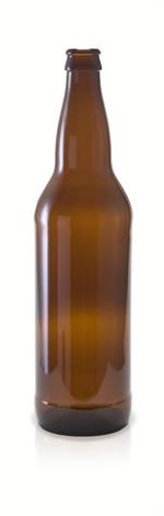22 oz Amber Beer Bottle 26mm Pry Off Crown Finish