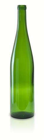 W13 - 750 ml Champagne Green Stretch Hock Flat Bottom Bottle Cork Finish