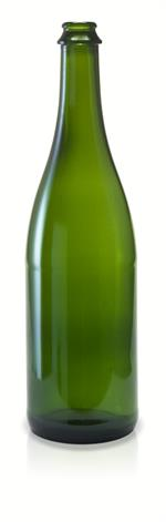 W25 - 750 ml Champagne Green Flat Bottom Bottle 26 mm Pry Off Crown Finish