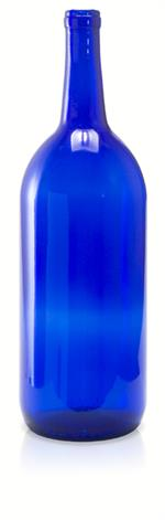 W26 - 1.5 liter Cobalt Blue Bordeaux Flat Bottom Wine Bottle Cork Finish