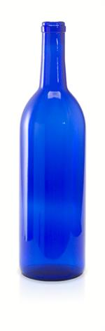 W5 - 750 ml Cobalt Blue Bordeaux Flat Bottom Wine Bottle Cork Finish