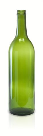 W5 - 750 ml Champagne Green Bordeaux Flat Bottom Bottle 28-400CT Screw Top