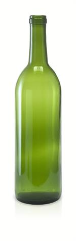 W5 - 750 ml Champagne Green Bordeaux Flat Bottom Wine Bottle Cork Finish