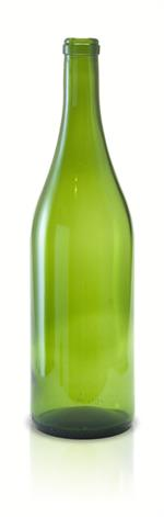 W6 - 750 ml Champagne Green Burgundy Flat Bottom Wine Bottle Cork Finish